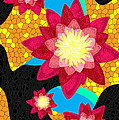 Lotus Flower Bombs In Magenta by Kenal Louis