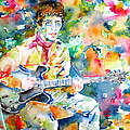 Lou Reed Playing The Guitar - Watercolor Portrait by Fabrizio Cassetta