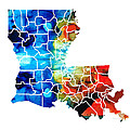 Louisiana Map - State Maps By Sharon Cummings by Sharon Cummings