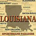 Louisiana State Pride Map Silhouette  by Keith Webber Jr