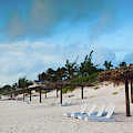 Lounge Chairs And Parasol On Pink Sands by Panoramic Images