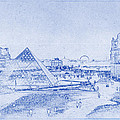Louvre and Paris Skyline Blueprint by Kaleidoscopik Photography