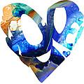 Love 4 - Heart Hearts Romantic Art by Sharon Cummings