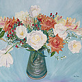 Love Bouquet In White And Orange by Asha Carolyn Young