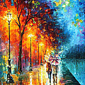 Love By The Lake - Palette Knife Oil Painting On Canvas By Leonid Afremov by Leonid Afremov