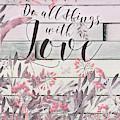 Love Floral Watercolor Wood by Tara Moss