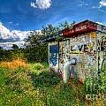 Love Graffiti Covered Building In Field by Amy Cicconi