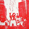 Love Park In Red by Marita McVeigh