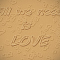 Love Quote Typography On Sand by Georgeta Blanaru