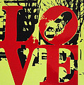 Love - Red On Lime by Sue Rowe