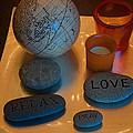 Love Relax Pray Stone Still Life by Valerie Garner