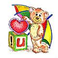 Love You Teddy Bear by Irina Sztukowski