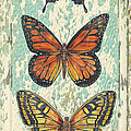Lovely Butterfly Trio On Tin Tile by Jean Plout