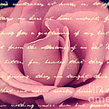 Lovely Pink Rose With Vintage Handwriting by Beverly Claire Kaiya