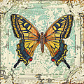 Lovely Yellow Butterfly On Tin Tile by Jean Plout