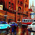 Lovers In The Rain Stroll St Catherine Street Near Morgans Department Store Vintage City Scene Art by Carole Spandau