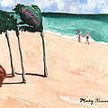 Lovers On The Beach by Mickey Krause