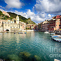 Low Angle View Of Vernazza  Harbor by George Oze
