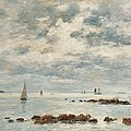 Low Tide Saint Vaast La Hougue by Eugene Louis Boudin