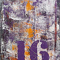 Lucky Number 16 Purple Orange Grey Abstract By Chakramoon by Belinda Capol