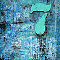 Lucky Number 7 Blue Turquoise Abstract By Chakramoon by Belinda Capol