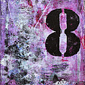 Lucky Number 8 Pink Black White Abstract By Chakramoon by Belinda Capol