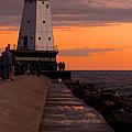 Ludington Pier And Lighthouse by Sebastian Musial