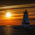 Ludington Pier Lighthead At Sunset by Randall Nyhof