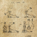 Ludwig Drum Pedal 3 Patent Art 1951 by Daniel Hagerman