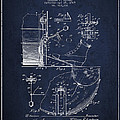 Ludwig Foot Pedal Patent Drawing From 1909 - Navy Blue by Aged Pixel