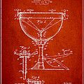 Ludwig Kettle Drum Drum Patent Drawing From 1941 - Red by Aged Pixel