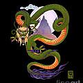 Lunar Chinese Dragon On Black by Melissa A Benson