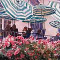 Lunch Under Umbrellas by Kris Parins