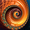 Luxe Fractal Spiral Brown And Blue by Matthias Hauser