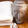 Luxury Bath Or Shower Set With Towel Budd And Shells On Wooden Table by Gino De Graaf