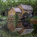 Mabry Mill Oil On Slate by Gino Didio