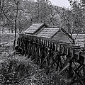 Mabry Mill Water Shute In Black And White by Kathy Clark