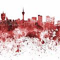 Macau Skyline In Red Watercolor On White Background by Pablo Romero