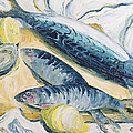 Mackerel With Oysters And Lemons, 1993 Oil On Paper by Carolyn Hubbard-Ford