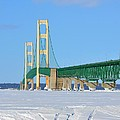 Mackinac Bridge On Ice by Keith Stokes