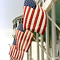 Mackinac Island Michigan - The Grand Hotel - American Flags by Kathy Fornal