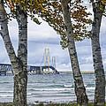 Mackinaw Bridge In Autumn By The Straits Of Mackinac by Randall Nyhof