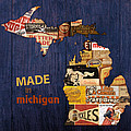 Made In Michigan Products Vintage Map On Wood by Design Turnpike