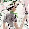 Mademoiselle Cover Featuring A Woman Holding by Helen Jameson Hall