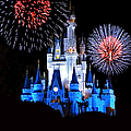 Magic Kingdom Castle In Blue With Fireworks by Thomas Woolworth