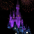 Magic Kingdom Castle In Purple With Fireworks 01 by Thomas Woolworth