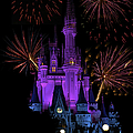 Magic Kingdom Castle In Purple With Fireworks 03 by Thomas Woolworth