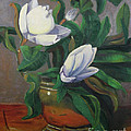 Magnolias On Brass by Lilibeth Andre