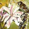 Magnolias With Sparrows by Alfred Ng