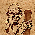 Mahatma Gandhi Coffee Painting by Georgeta  Blanaru